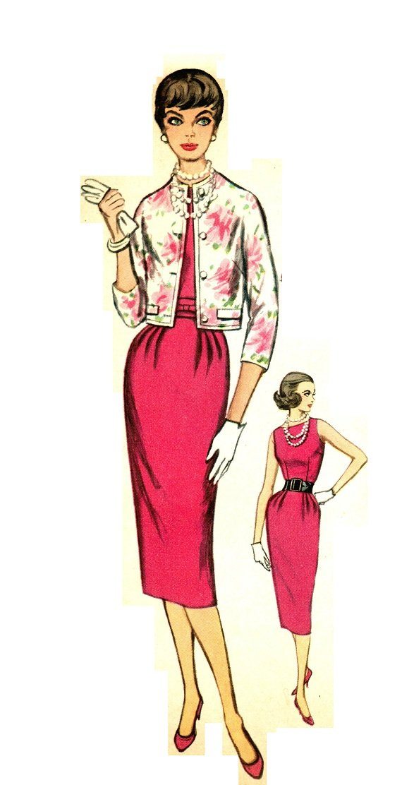 Simplicity 2407 50s UNCUT/FF Sexy Bombshell Wiggle DRESS & JACKET Vintage Sewing Pattern
