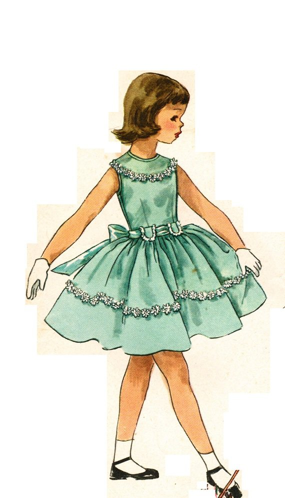 Simplicity 1900 Vintage 1950s Adorable Party DRESS for Easter or Confirmation Sewing Pattern