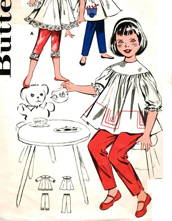 Butterick 9618 Vintage 60s Sweet Yoked Smock Top with Pants and Applique Sewing Pattern