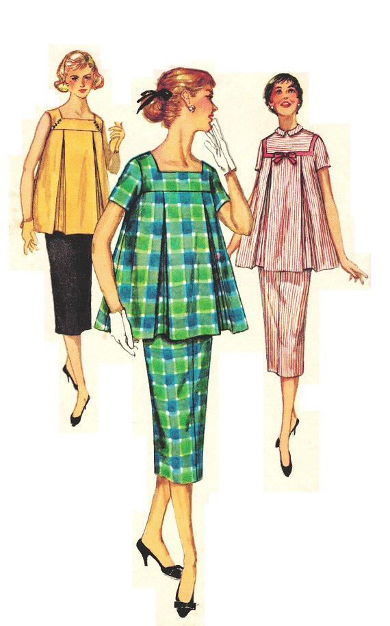 Simplicity 1487 50s Vintage Maternity Dress 2 Piece Sewing Pattern