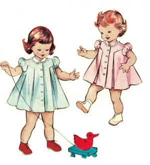 Butterick 6609 Vintage 50s Toddler DRESS Puff Sleeves Inverted Pleat Front Button Sewing Pattern