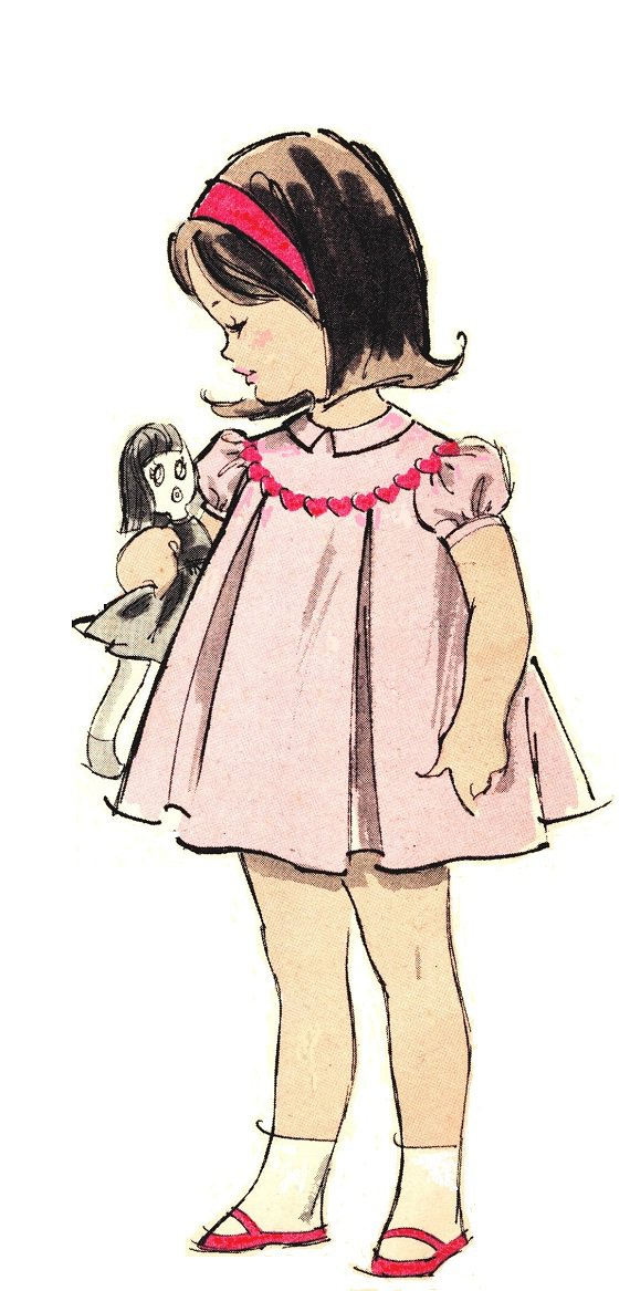 Advance 9803 Vintage 60s Adorable Toddler Girls Dress - Round Yoke, Inverted Pleats Sewing Pattern