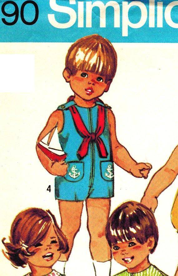 Simplicity 9290 Vintage 70s Cute Toddlers Jumpsuit or Bubblesuit or Nautical Sailor Short set Size 1