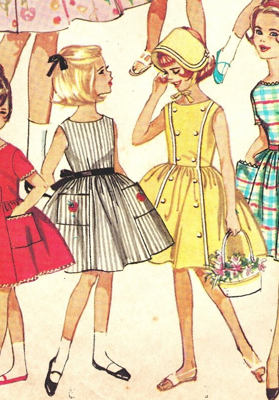 Simplicity 4924 Vintage early 60s Girls 7 Day Wardrobe of Dresses ...