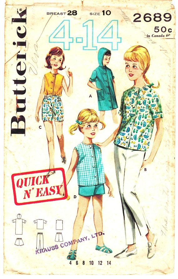 Butterick 2689 Vintage 60s Girls' Sportswear with Beach Dress with Hood Sewing Pattern