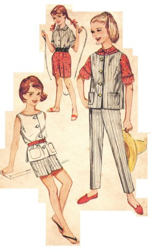 Simplicity 3941 Vintage early 60s Girls' Slim Pants, Shorts and Top Sewing Pattern