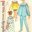 Simplicity 5552 Vintage 60s Mad Men Baby Doll Pajamas or Nightgown Sewing Pattern Size 10