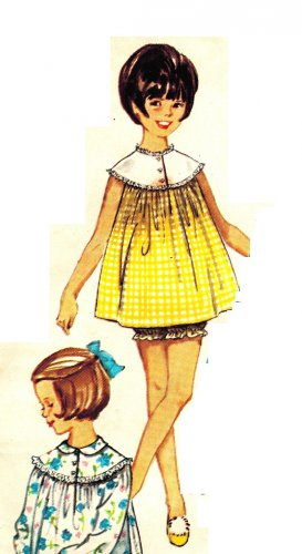 Simplicity 5552 Vintage 60s Mad Men Baby Doll Pajamas or Nightgown Sewing Pattern Size 14