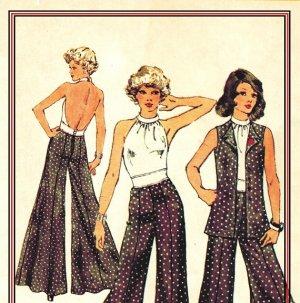 SImplicity 5611 UNCUT Vintage 70s Wide Leg Pants, Vest and Halter Top
