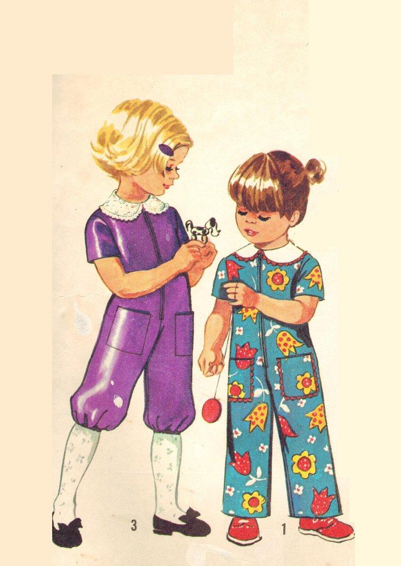 Simplicity 9685 Cute Vintage 70s Toddler Girls Jumpsuit Romper CapriLength Sewing Pattern Size 1