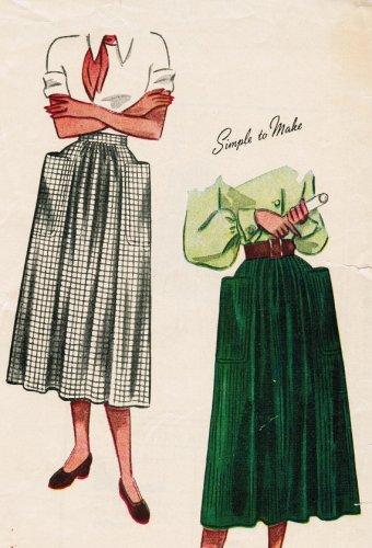 Vintage Simplicity 2305 40s Sewing Pattern  SWING ERA Dirndl Skirt with HUGE Pockets waist 24