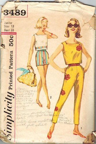 Simplicity 3489  Vintage 50s High Waist Slim Pants, Shorts and Crop Top Sewing Pattern Bust 33