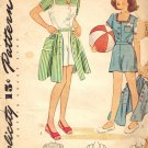 Simplicity 4964 Vintage 40s Girls Playsuit: Shorts, Skirt & Blouse Sewing Pattern Size 10