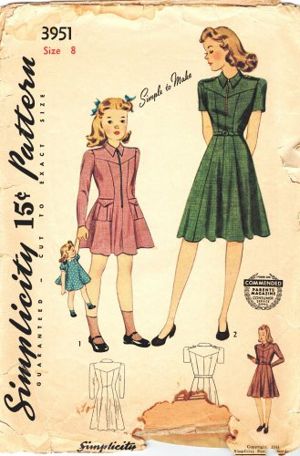 """Simplicity 3951 Vintage 40s Girls Dress """"Mother & Daughter"""" Fashion, Zip Front Sewing Pattern Size 8"""