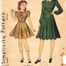 RARE Simplicity 3460 Vintage 40s or late 30s Girls Dress 12 Gore Flared Skirt Sewng Pattern Size 8