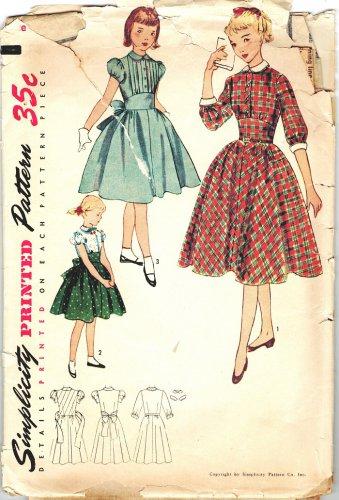 Simplicity 3645 RARE UNCUT Vintage 50s Girls Dress Detachable Collar, Cuffs Sewing Pattern Size 12