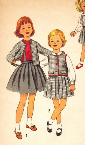 Simplicity 3178 Vintage 50s Toddler Girls Skirt, Blouse and Jacket Ensemble Sewing Pattern Size 3
