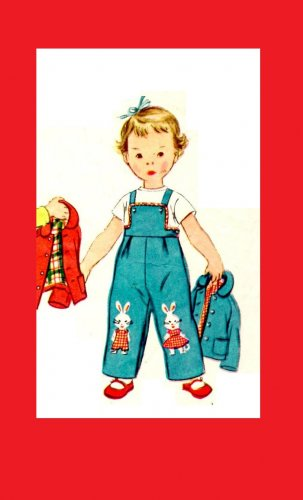 Simplicity 4417 Vintage 50s Adorable Toddler Overalls Sewing Pattern Size 1