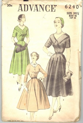 Advance 6240 Vintage 50s Dress with Short or Three Quater Sleeves Sewing Pattern Half Size