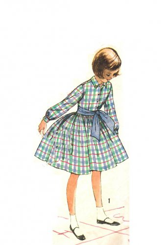 Simplicity 3569 Vintage 60s Girls Shirt Dress, L/S Sleeves, Full Skirt Sewing Pattern Size 8