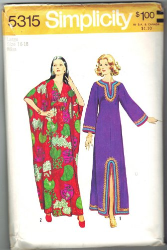Simplicity 5315 Vintage 70s CAFTAN Sewing Pattern Size 16-18 Bust 38-40