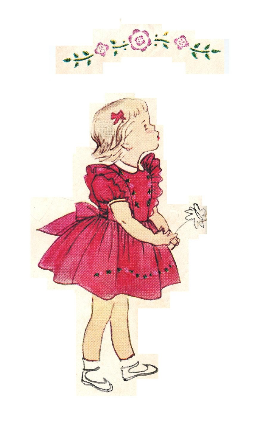 Simplicity 3726 Vintage 50s Toddler Girls Dress and Pinafore Emb.Transfer Size 1
