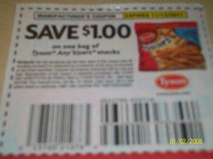 10 - $1/1 Tyson Any'tizers Snacks