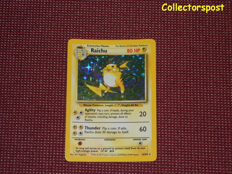 Pokemon Base Set Unlimited Raichu Holo