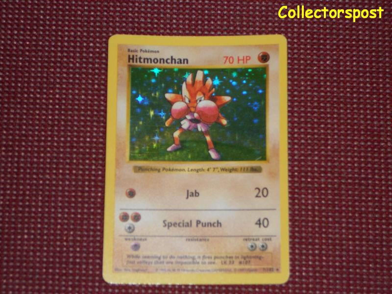 Pokemon Base Set Unlimited Shadowless Hitmonchan Holo