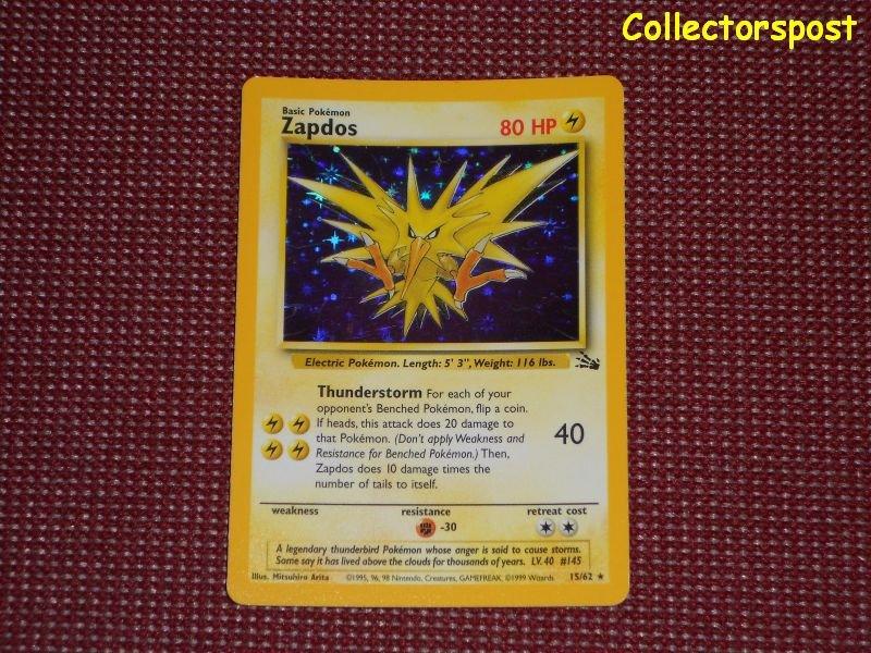 Pokemon Fossil Set Unlimited Zapdos Holo