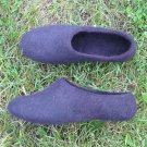 Felted wool shoes / Black Fairy with Eggplant Ribbon / 2in1 slippers