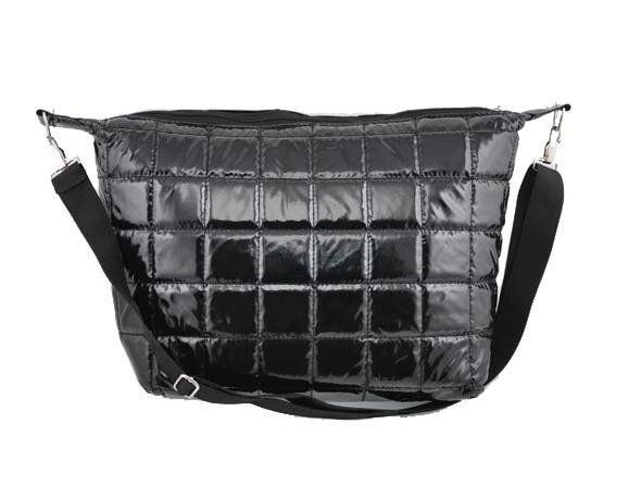 Nylon Quilted Crossbody Shoulder Bag WCYD0013 Black/ Red / Silver