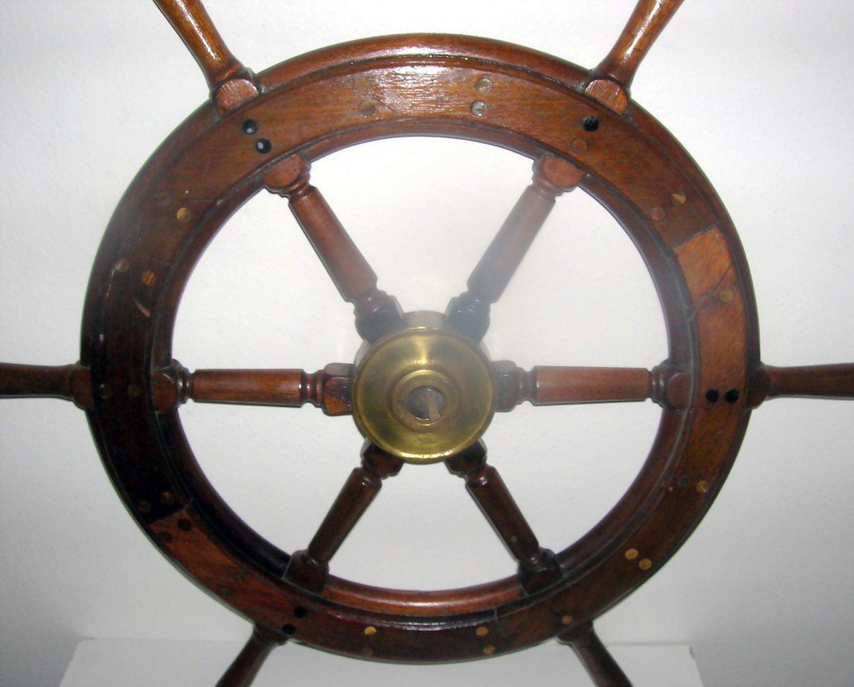 Wheel Mounted On Boats : Boat steering wheel vintage hardwood w brass mount must see