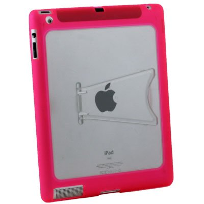 Clear TPU GEL Case with Stand for Apple IPAD 2 2nd Pink