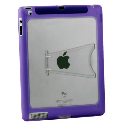 Purple Clear TPU GEL Case with Stand for IPAD 2