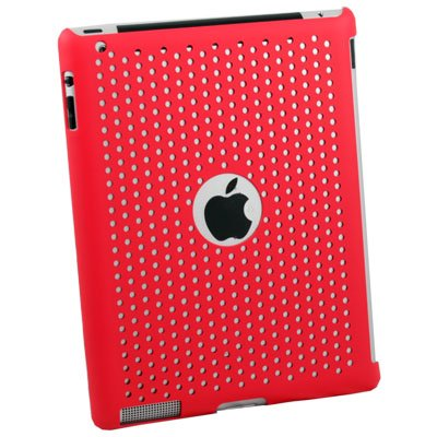 For Apple iPad 2 Net Hard Case Work With Smart Cover Red