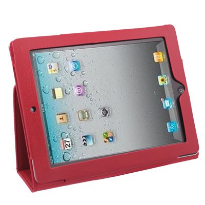 Red Stand Leather Case Cover Stand For Apple iPad2