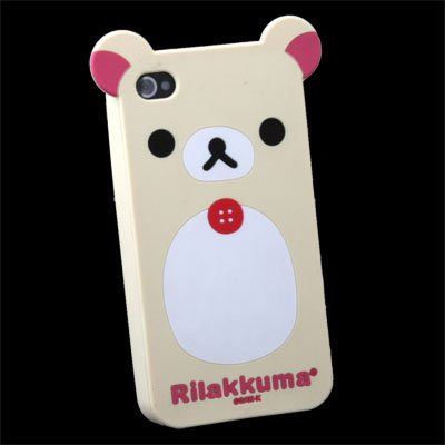 White Rilakkuma Lazy Bear Silicone Case for Apple iPhone 4