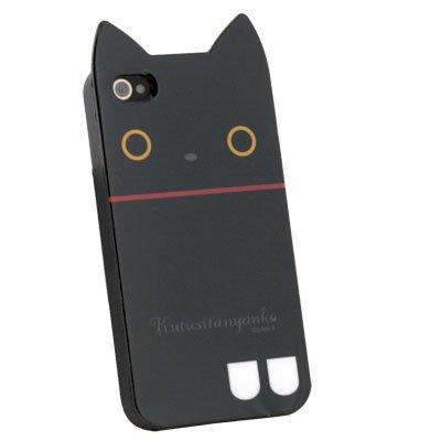 Black Rilakkuma Cute Cat TPU Soft Case for iPhone 4