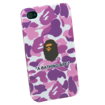 Purple Camouflage Rubber Case Cover for Apple iPhone 4