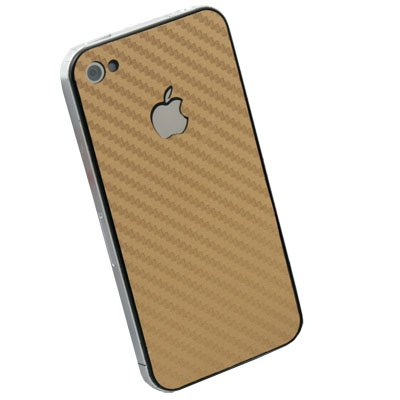 Gold Matte Carbon Fiber Sticker for Apple iPhone 4G