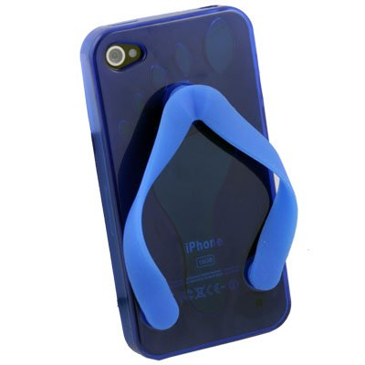 For iPhone 4G Cute Shoe Design Blue Color TPU Case
