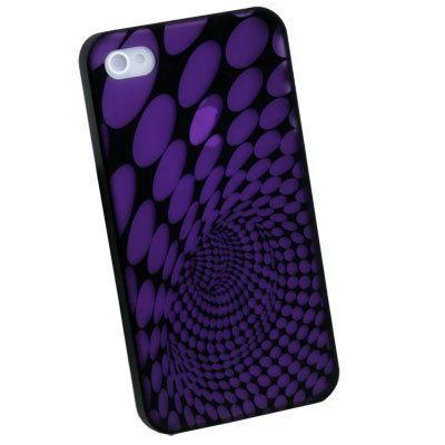 Laser Dot Plastic Case back Cover for iPhone 4G (Purple)