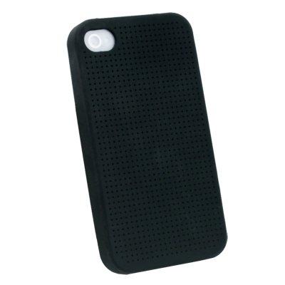 Black Cross Stitch Silicone Skin Case for iPhone 4 #7110#