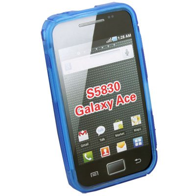 Blue TPU Gel Skin Case Cover for Samsung S5830 Galaxy Ace