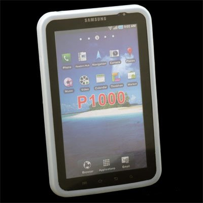 White Silicone Skin Case for Samsung Galaxy TAB P1000 #6086#