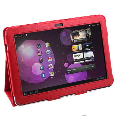 Red PU Leather Case Cover for Samsung Galaxy Tab P7510