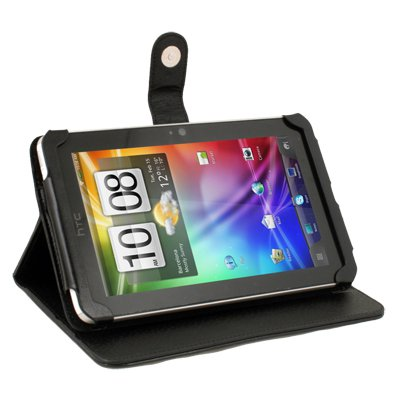 Black Leather Stand Case Cover for HTC Flyer 3G/Wifi View 4G Tablet