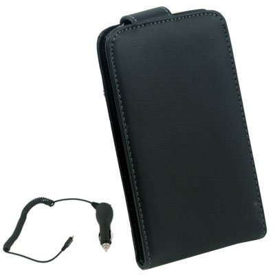 Black Flip Leather for Samsung Galaxy i9000+ Car Changer