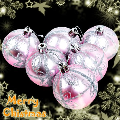 6 Pcs XMAS Christmas Tree Baubles Glittery Silver Star Pattern Design Pink#7340#